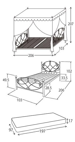 【楽天市場】【送料無料】【代引き不可】Celestia(セレスティア)シングル天蓋+ベッド+マットレスセット 幅