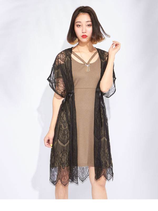 dreamv Sheer Cardigan lace gathered gown falling