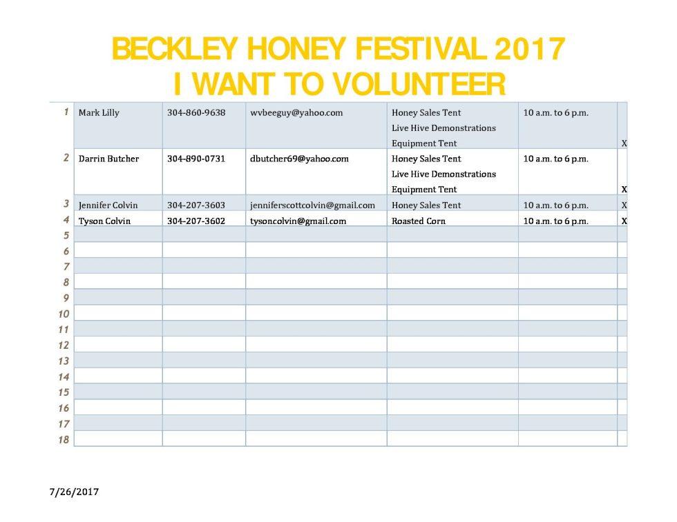 Beckley Honey Festival 2017-2