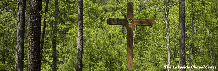 The cross at the Camp Agape Lakeside Chapel