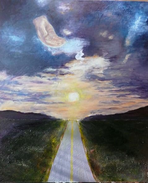 Painting by Luz Frye, Dec. 7, 2014 during RMC Worship