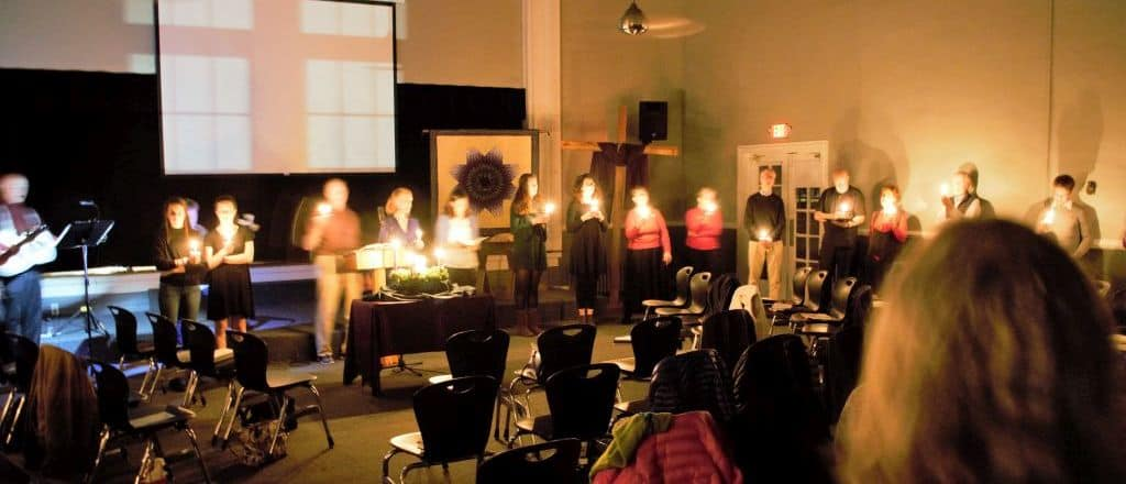 Singing Silent Night at the Christmas Eve service, 2106