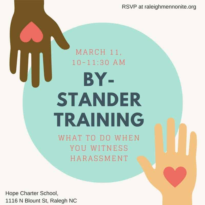 Visual promoting by-stander training on March 11, 2017, 10-11:30 a.m. at Hope Charter School