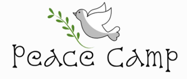 peace camp logo with dove and olive branch