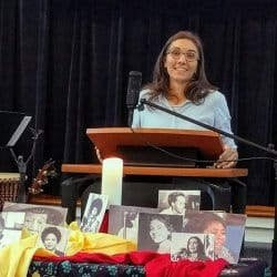 Melissa preaching at RMC on June 30, 2019