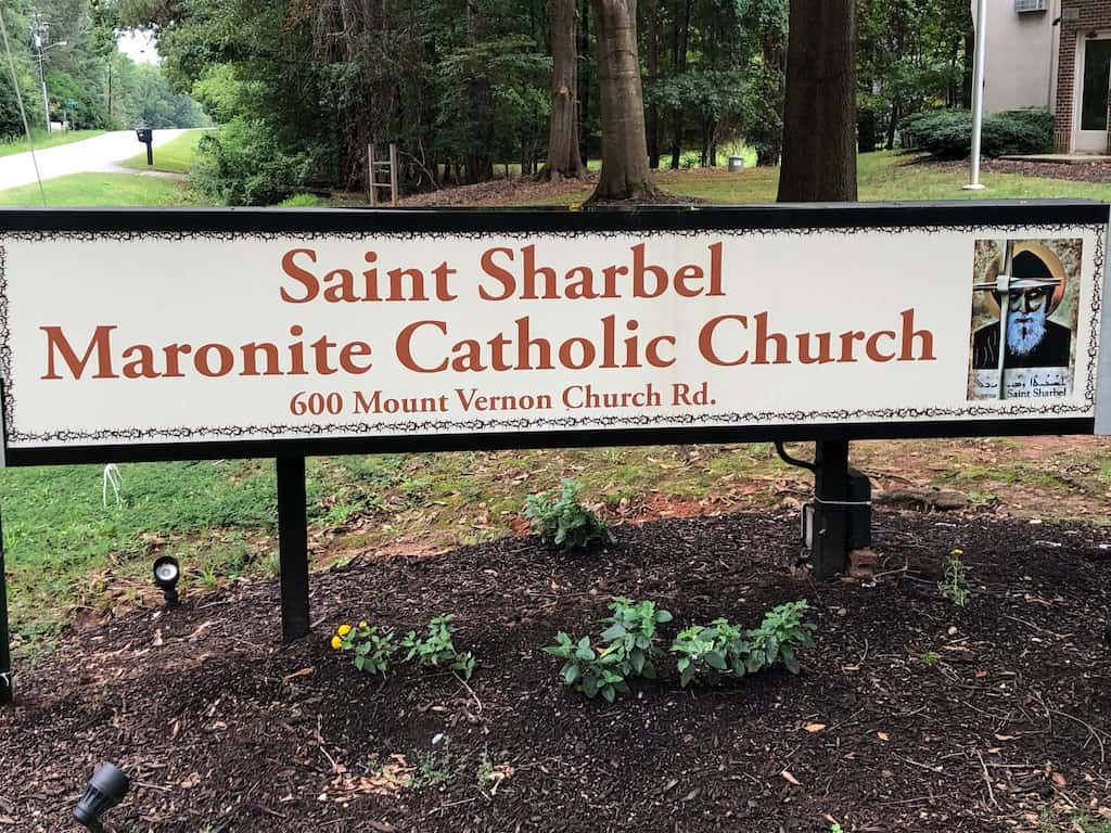 Church sign in front of the Saint Sharbel Maronite Catholic Church