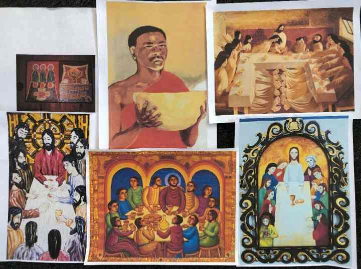 Six pictures depicting the account of the Lord's Supper in various styles.
