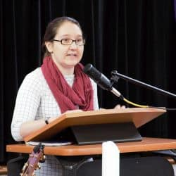 Rachel Taylor preaching at RMC January 19, 2020