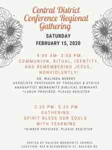 Flyer for Central District Conference gathering - Feb. 15, 2019