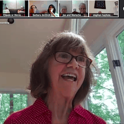 Kathy speaking via Zoom on July 5, 2020