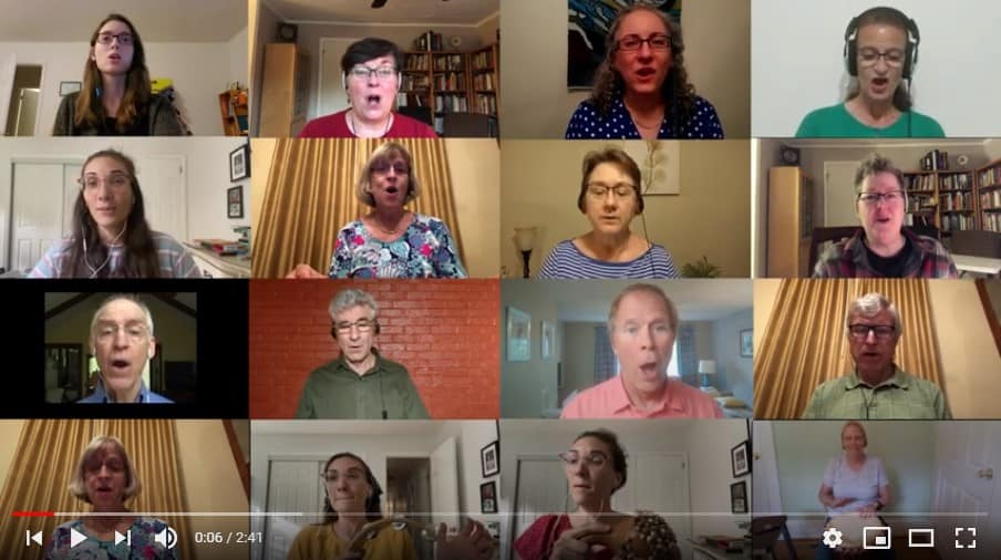 Raleigh Mennonite Virtual Ensemble singing on YouTube