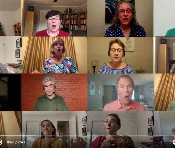 Raleigh Mennonite Virtual Ensemble singing on YouTube