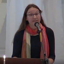Rachel preaching at Shepherd's Hall on Sept. 19, 2021