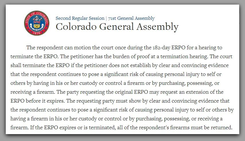 Red Flag Bill Emergency Risk Protection Order ERPO Colorado Gun Confiscation Colorado Rally for our Rights