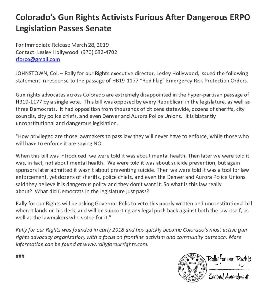 ERPO Red Flag Passes Colorado Senate Rally for our Rights
