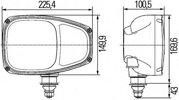 Hella Model C220 External Headlamp with Turn Signal, ECE