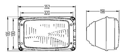 Hella 3434 Series 270 x 170mm HB1 Single High/Low Beam