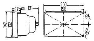 Hella 200mm Rectangular ECE H4 Headlamp With City Light