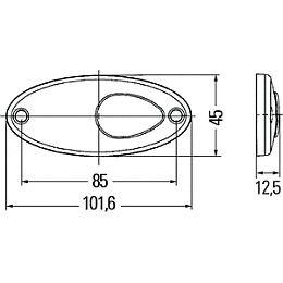 Hella 4295L Series Oval LED Side Marker/Tail Lamp, 12V