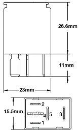 Hella HL31900 Relay, Micro, 12V, 10/20A, SPDT, Resistor