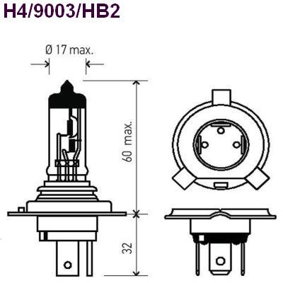 HELLA H4LL/9003LL Long Life Bulb, Each