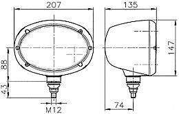 Hella Oval 120 Halogen Work Lamps