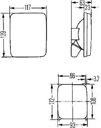 Hella 5200 Series Double Reflector Signal Lamp, Flush