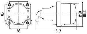 Hella 90mm Bi-Halogen Hi-Lo Headlamp, ECE, DOT, Left or