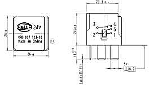 Hella HL87429 Mini Relay, 12V, 10/20A, SPDT with Resistor