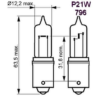 CPP796 Halogen Bulb 12V 35W BA15s, 62CP (Standard 1156 is