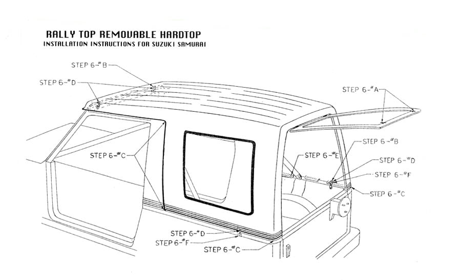 Installation Instructions for Suzuki Samurai 1-Piece Hardtops