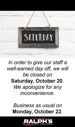 Closed on Saturday, October 20, 2018