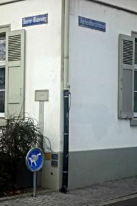 Hochwassermarken am Haus Oberer Rheinweg 93 in Base