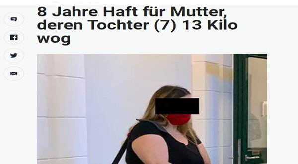 النمسا – طفلة 7 سنوات – الوزن، 13 كيلو – الأم 8 سنوات سجن بسبب التجويع والإهمال