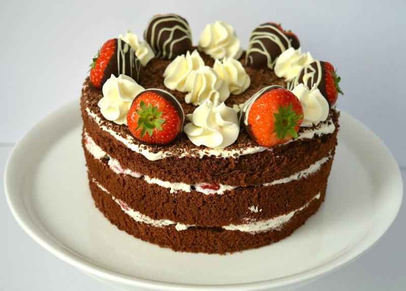Aardbeien chocoladetaart