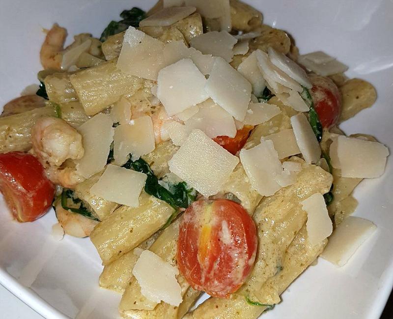 Pasta pesto met garnalen (Vapiano)
