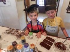Making chocolates.