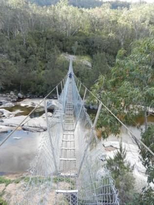 Declan crossing the swing bridge.