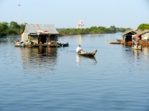 Moving house in a Floating village on Tonle Sap.