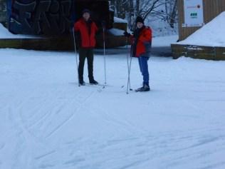 Evan and Callum on skis.