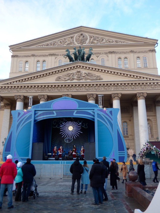 Santa concert outside the Bolshoi Theatre.