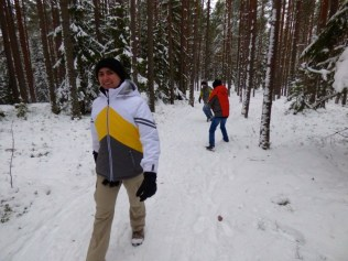 Walking in the forest - and snowballs.