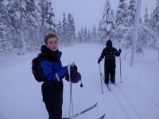 On the ski trail.