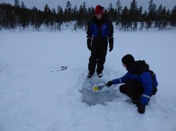 Ice fishing.