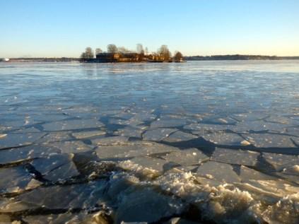 Ice on the Helsinki harbour.