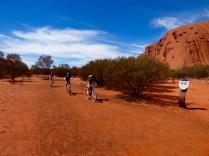 Riding round Uluru.