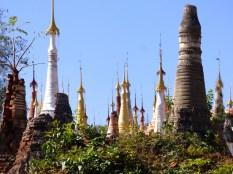 Pagodas in various states of repair.