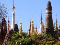 Pagodas in various states of repair.