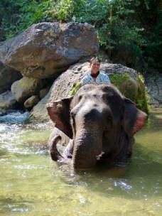 Sitting on an elephant.