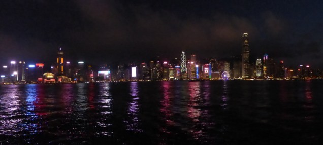HK lights panorama.